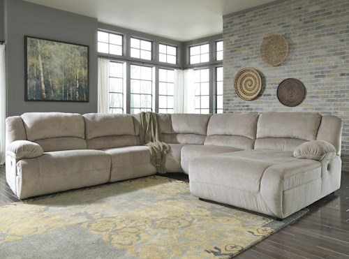 Signature Design by Ashley Toletta - Granite Reclining Sectional with Right Press Back Chaise