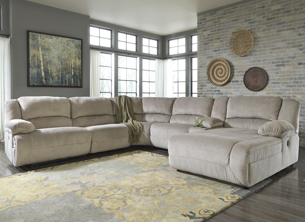 Signature Design By Ashley Toletta Granite Reclining Sectional  ~ Reclining Sectional Sofa With Chaise Lounge
