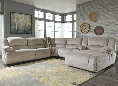 Signature Design by Ashley Toletta - Granite Reclining Sectional with Console & Right Press Back Chaise