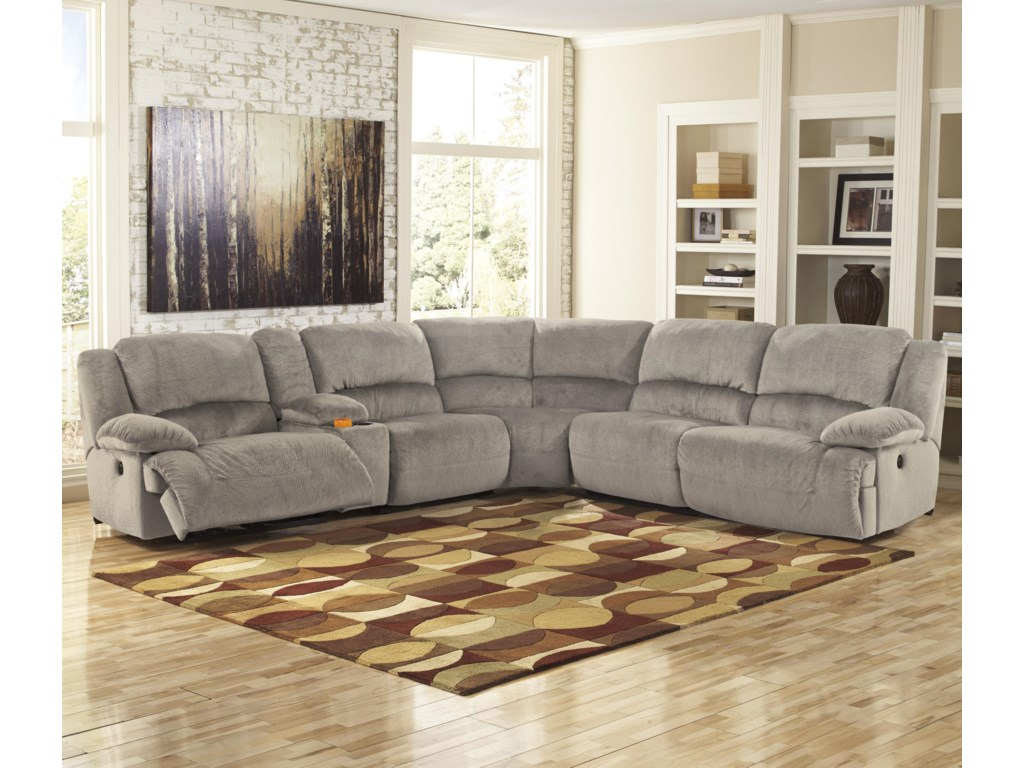 Signature Design by Ashley Toletta - GraniteReclining Sectional with Console