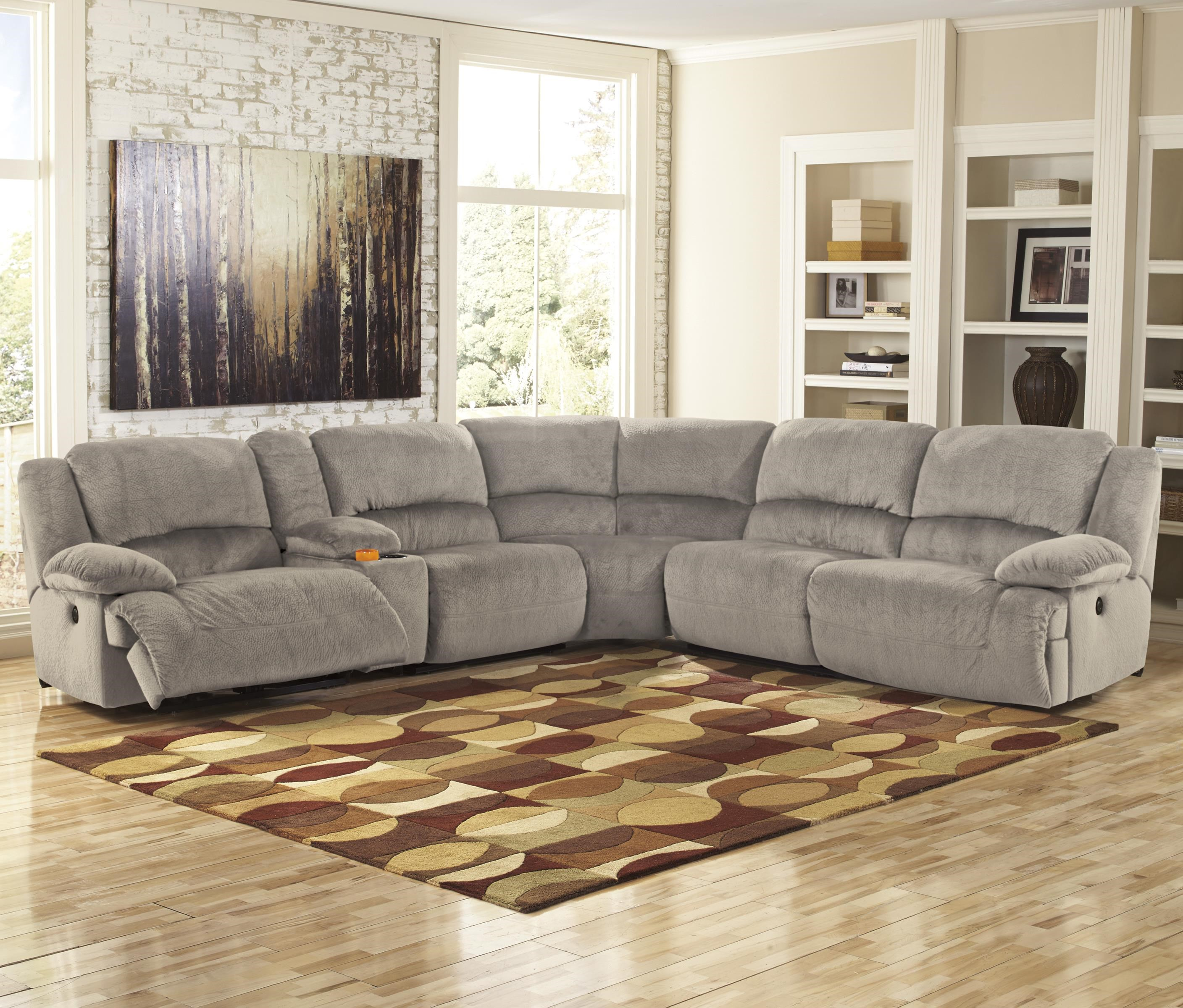 Signature Design by Ashley Toletta - Granite Power Reclining Sectional with Console : power reclining sectional sofa - Sectionals, Sofas & Couches