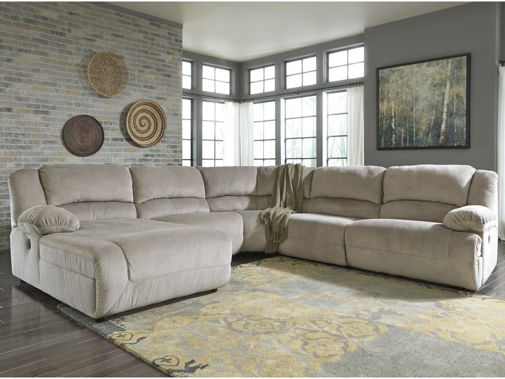 Signature Design by Ashley Toletta - GranitePower Reclining Sectional with Chaise