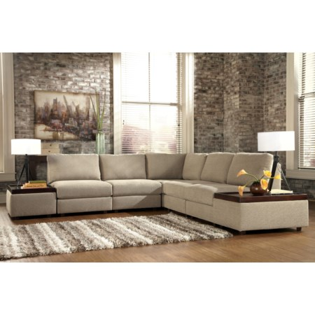 Armless Sectional with Accent Ottomans