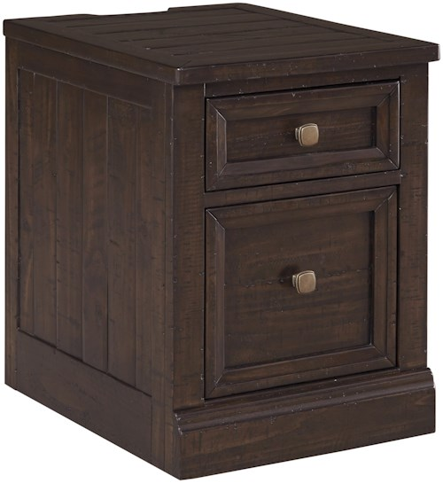 Signature Design by Ashley Townser Solid Pine File Cabinet with Power Outlets & USB Chargers