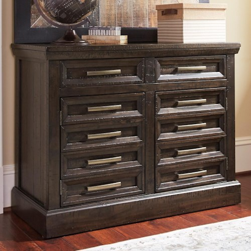 Signature Design by Ashley Townser Solid Pine Credenza with 2 Doors & 2 Drawers