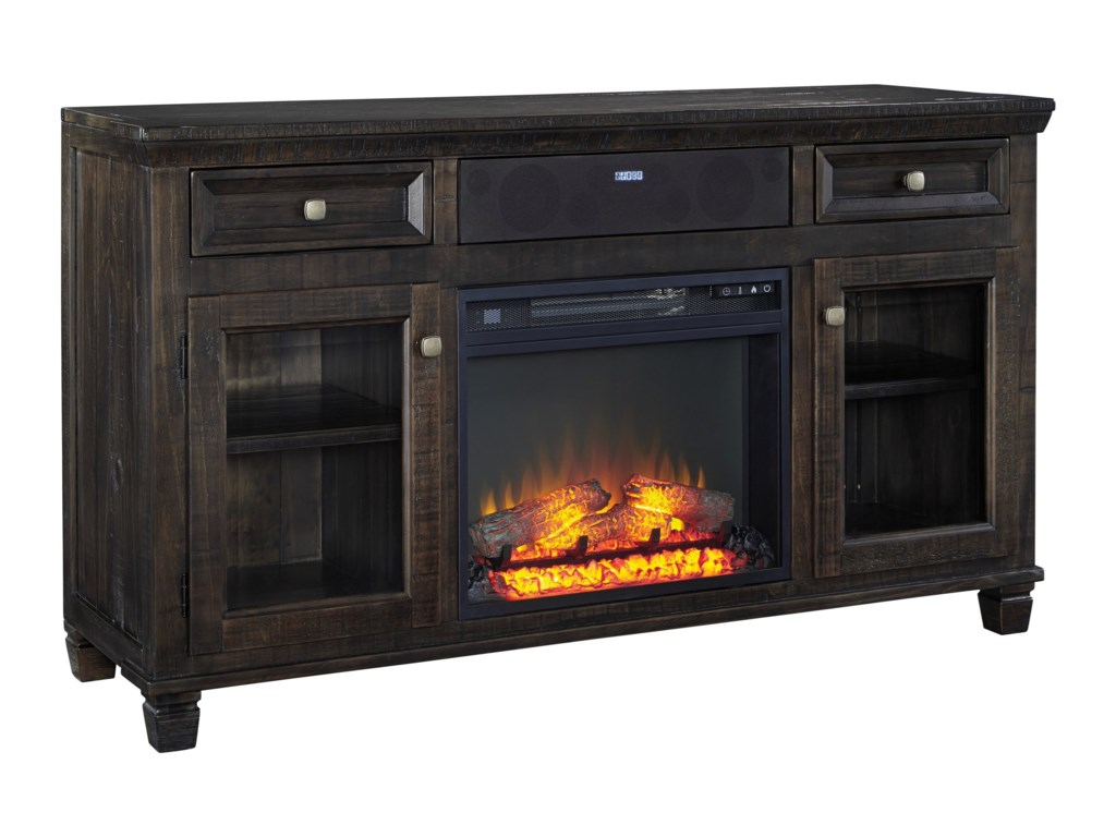 Ashley (Signature Design) TownserTV Stand w/ Fireplace & Small Speaker