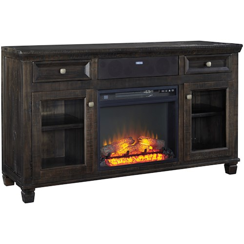 Signature Design by Ashley Townser Large TV Stand w/ Fireplace Insert & Small Bluetooth Speaker