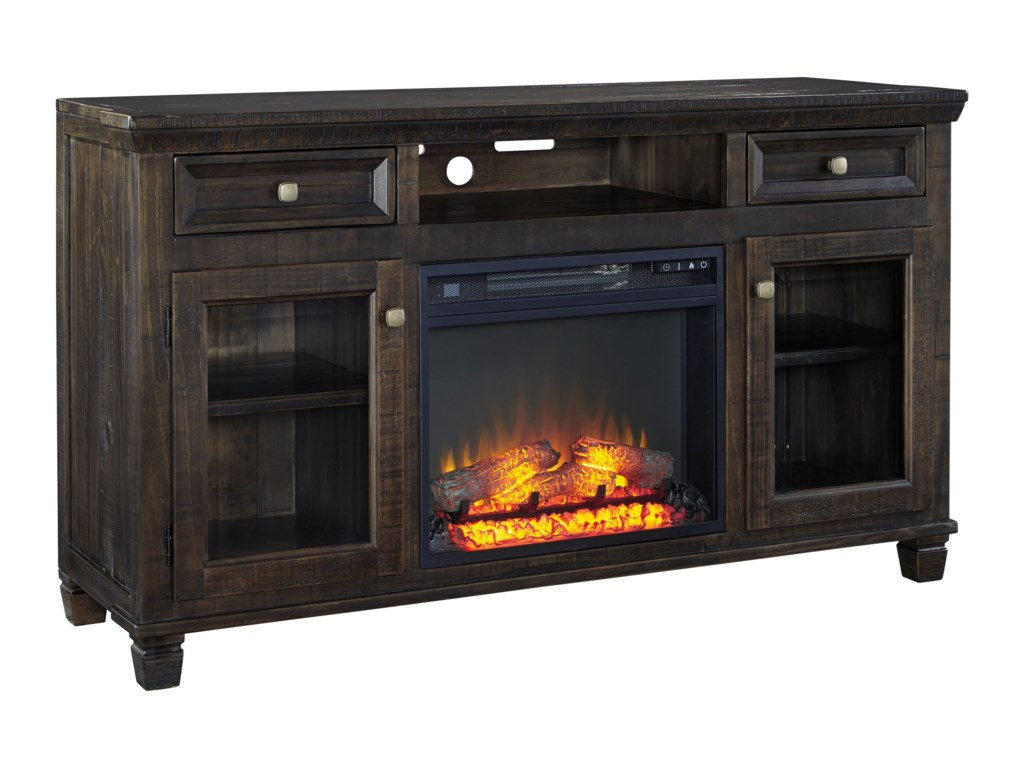 Signature Design by Ashley TownserLarge TV Stand w/ Fireplace Insert