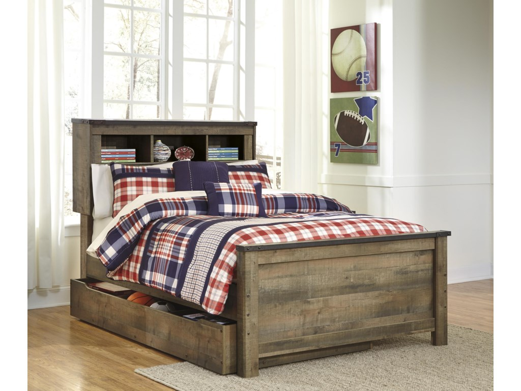 Signature Design by Ashley TrinellTwin Bookcase Bed with Under Bed Storage Pac