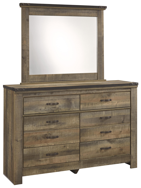 Rustic Youth Dresser & Bedroom Mirror with Top Metal Banding