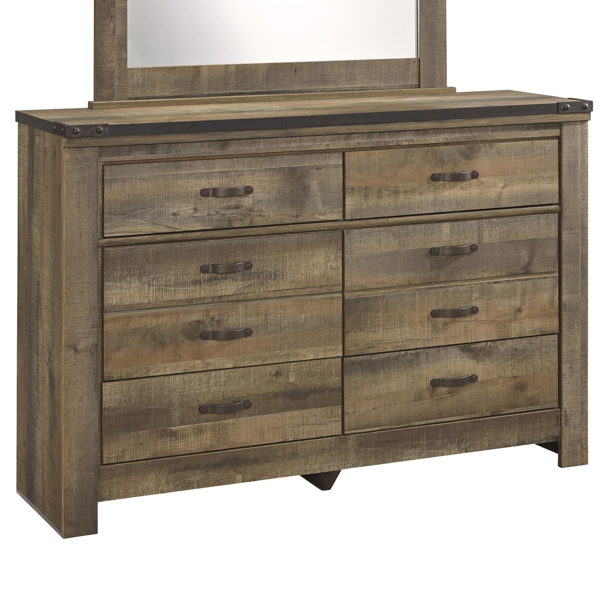 Signature Design By Ashley Trinell Rustic Look Youth Dresser With Top Metal  Banding