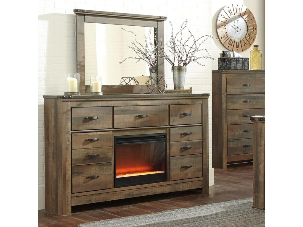 Signature Design by Ashley TrinellDresser with Fireplace Insert & Mirror