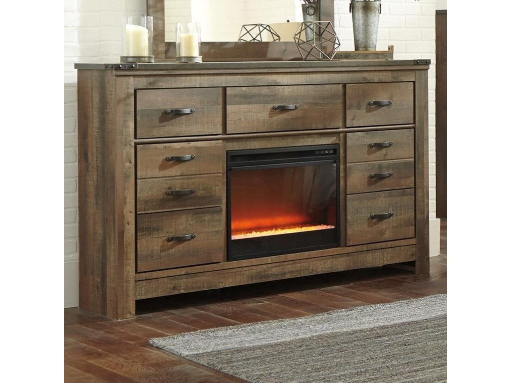 Signature Design by Ashley TrinellDresser with Fireplace Insert