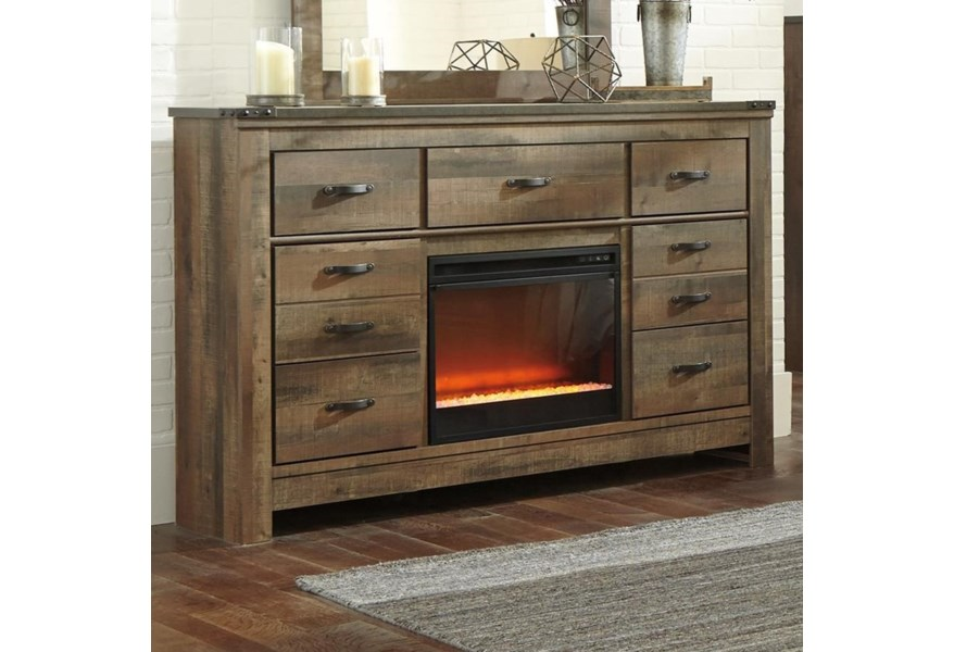 Rustic Dresser With Fireplace Insert