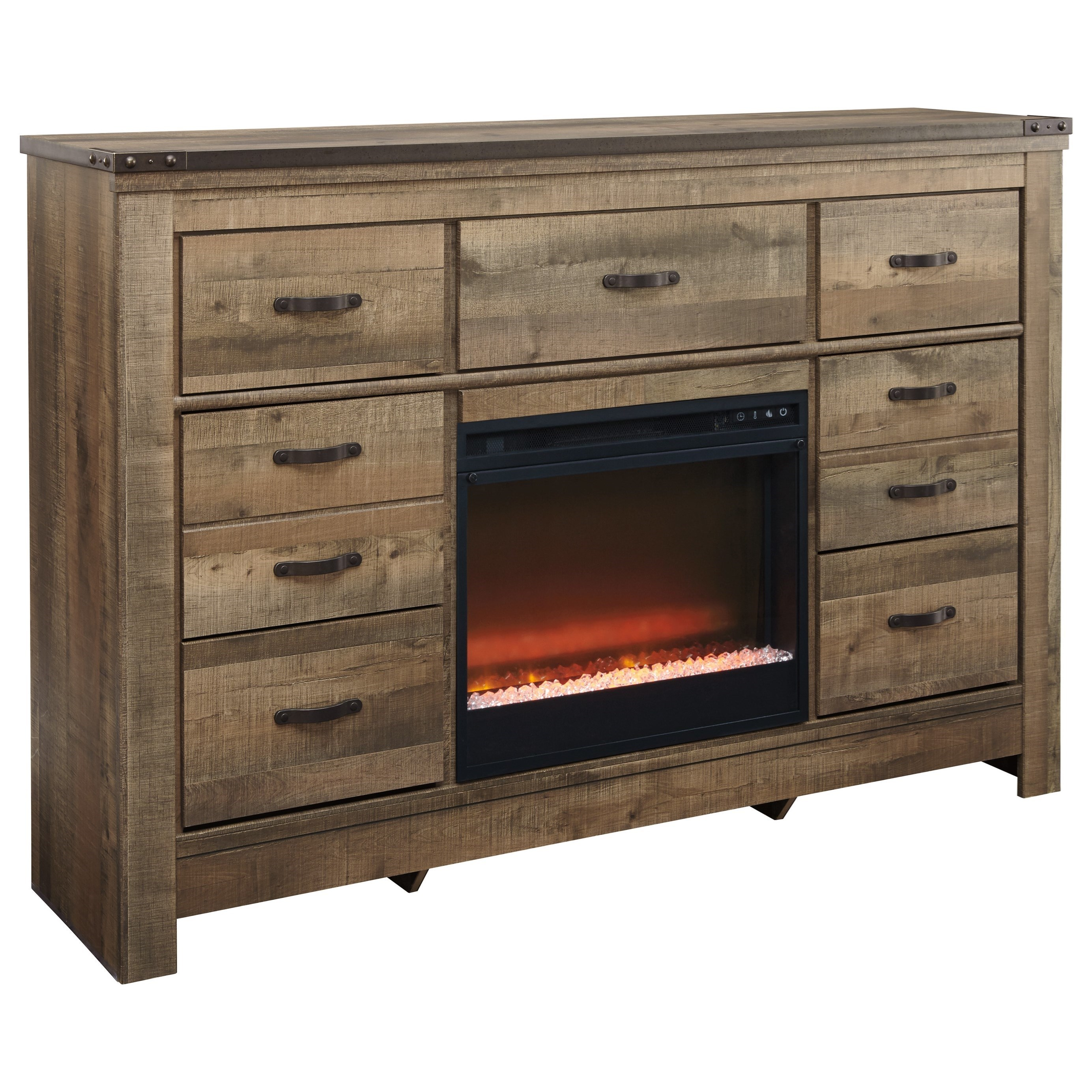 Rustic Dresser with Fireplace Insert & Top Metal Banding