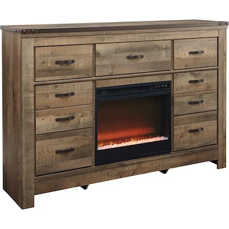 Dresser with Fireplace Insert
