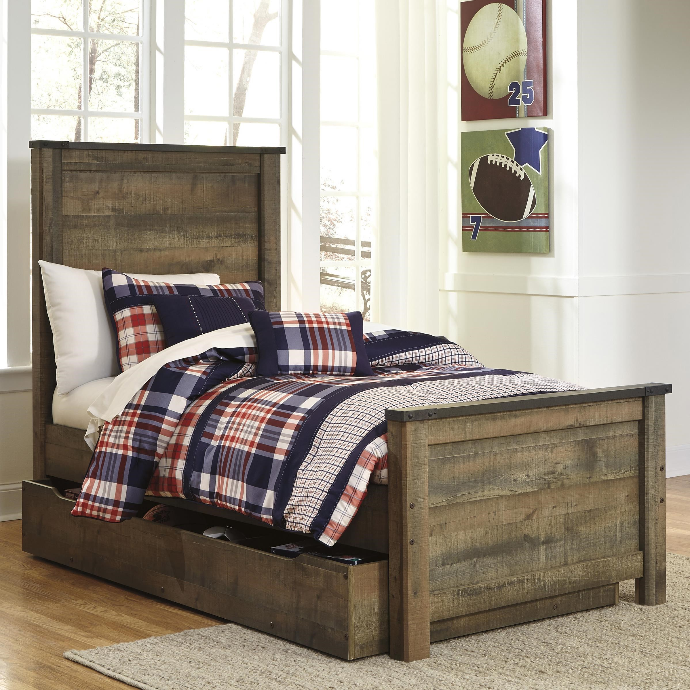 signature design by ashley trinell rustic look twin panel bed with under bed
