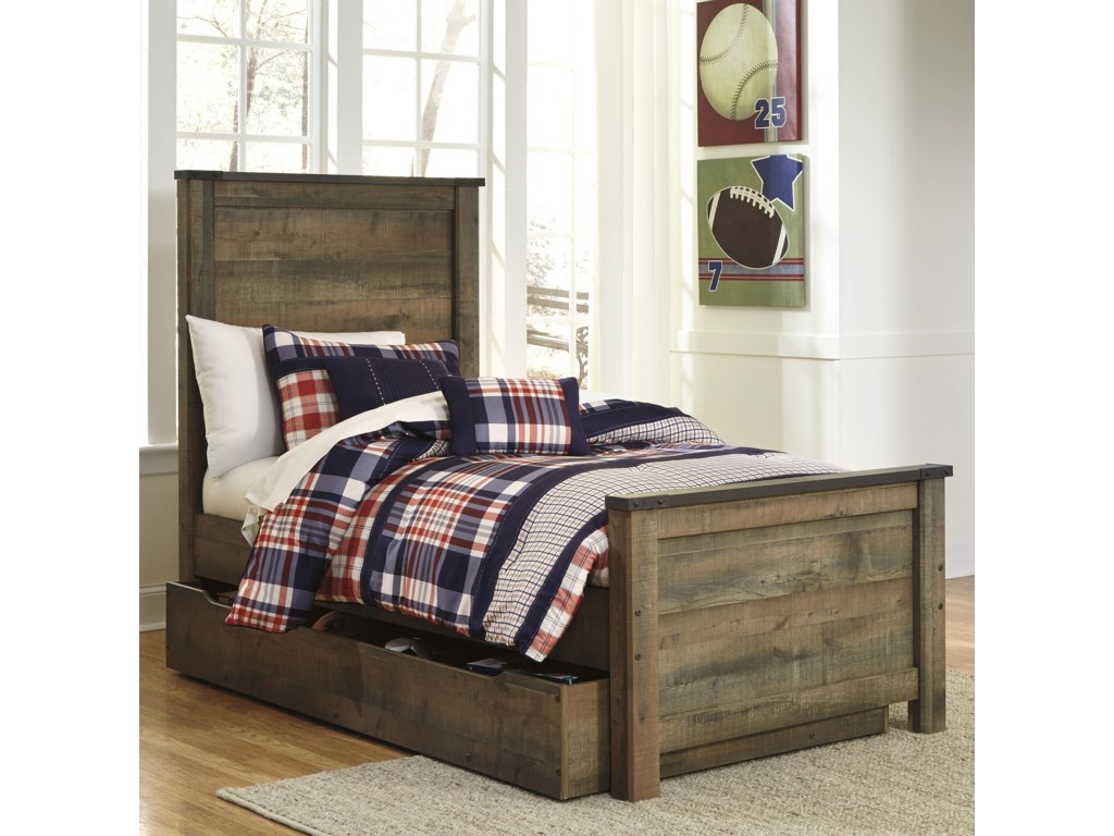 Ashley Signature Design TrinellTwin Panel Bed w/ Under Bed Storage/Trundle