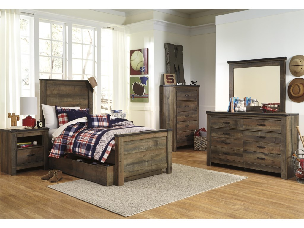 Signature Design by Ashley TrinellTwin Panel Bed w/ Under Bed Storage/Trundle