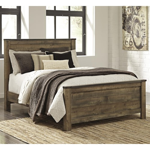 Signature Design by Ashley Trinell Rustic Look Queen Panel Bed ...