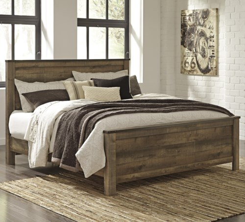 StyleLine CONALL Rustic Look King Panel Bed - rustic king size bedroom sets