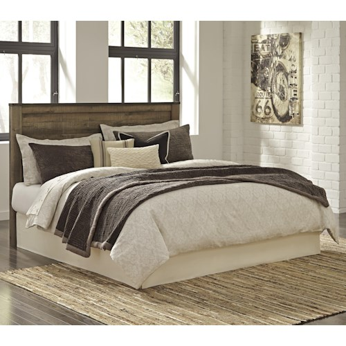 Signature Design By Ashley Trinell Rustic Look King Cal King Panel Headboard With Metal Brackets