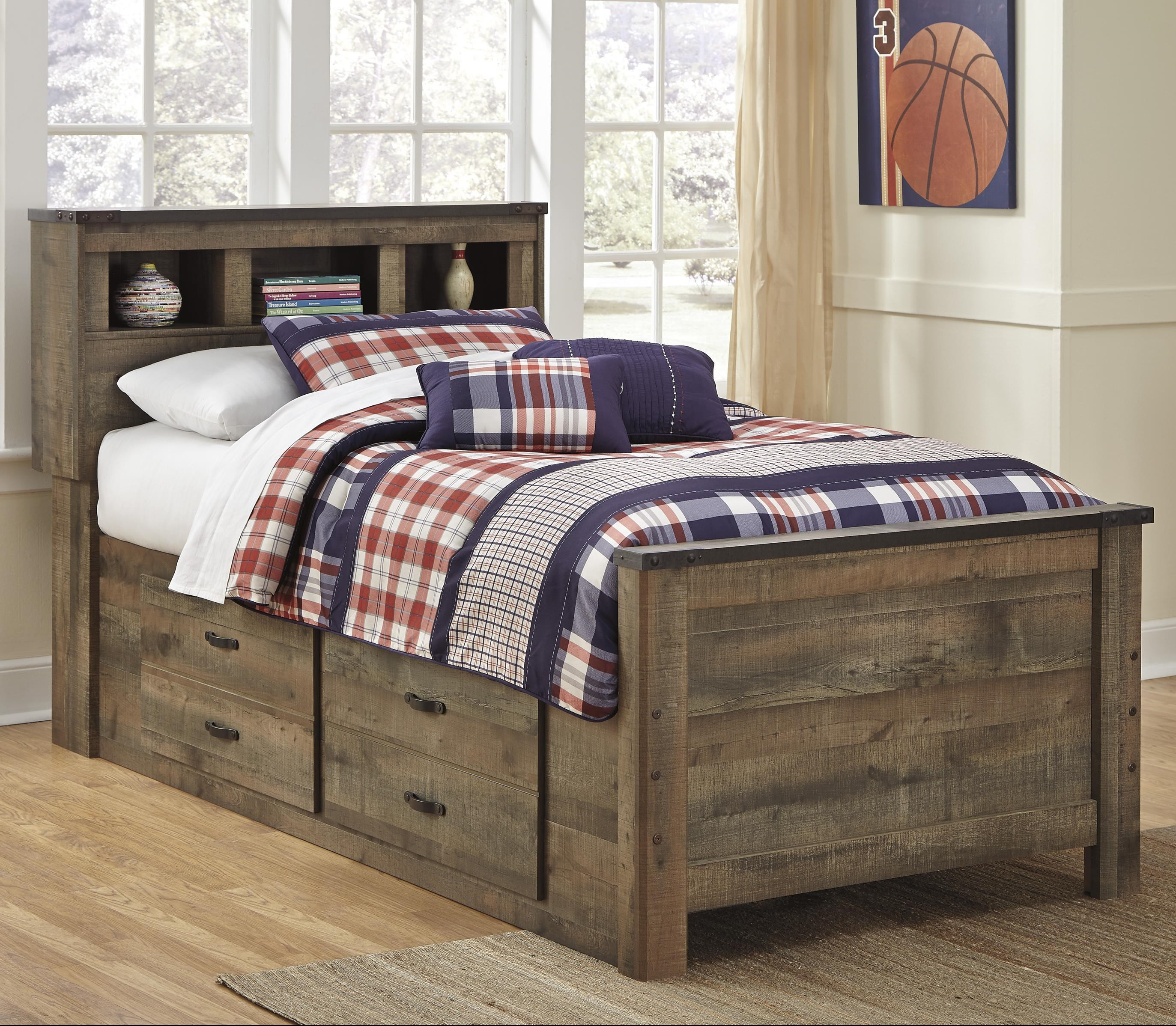 Picture of: Signature Design By Ashley Trinell Rustic Look Twin Bookcase Bed With Under Bed Storage Royal Furniture Bookcase Beds
