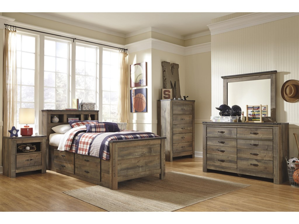 Signature Design by Ashley TrinellTwin Bookcase Bed with Under Bed Storage