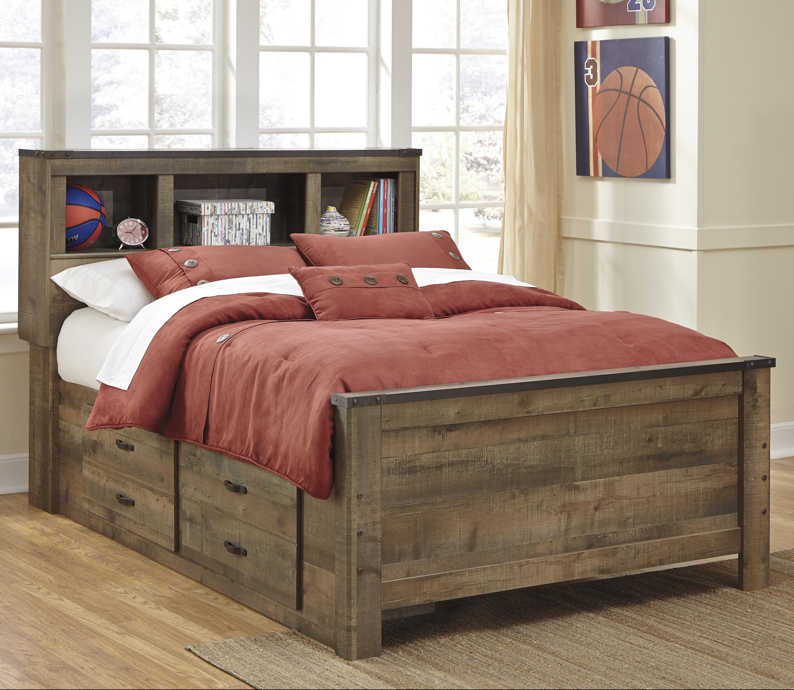 Signature Design By Ashley Trinell Rustic Look Full Bookcase Bed With Under Bed Storage Wayside Furniture Bookcase Beds