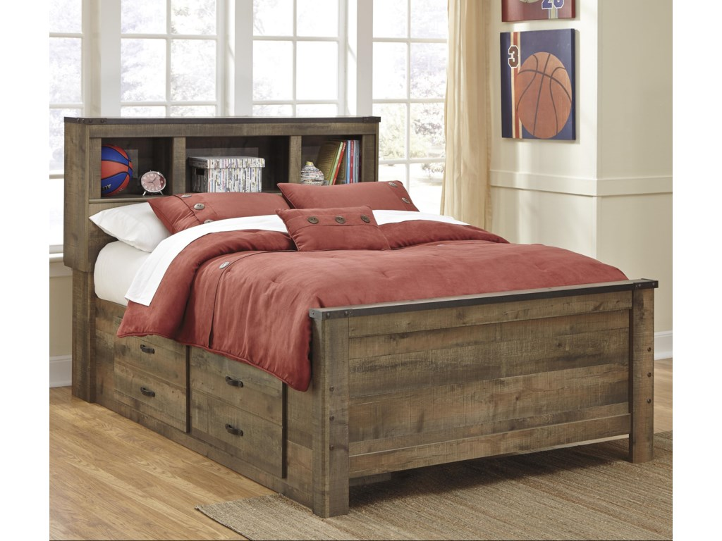 Signature Design by Ashley TrinellFull Bookcase Bed with Under Bed Storage
