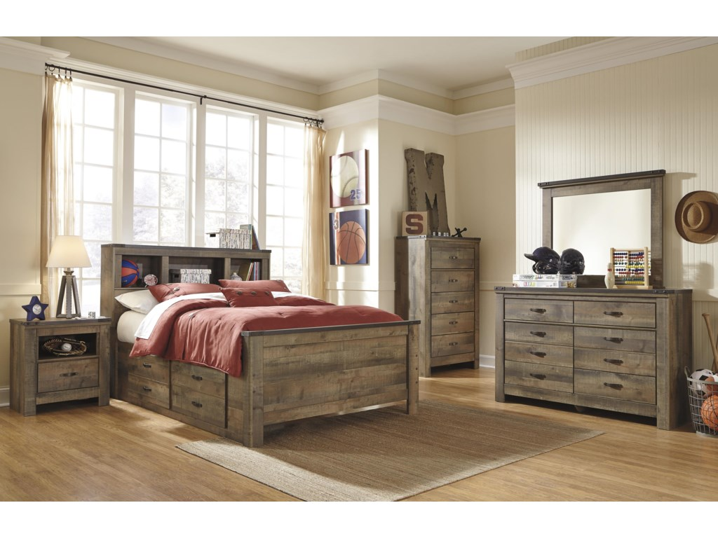 Signature Design by Ashley VickersFull Bookcase Bed with Under Bed Storage