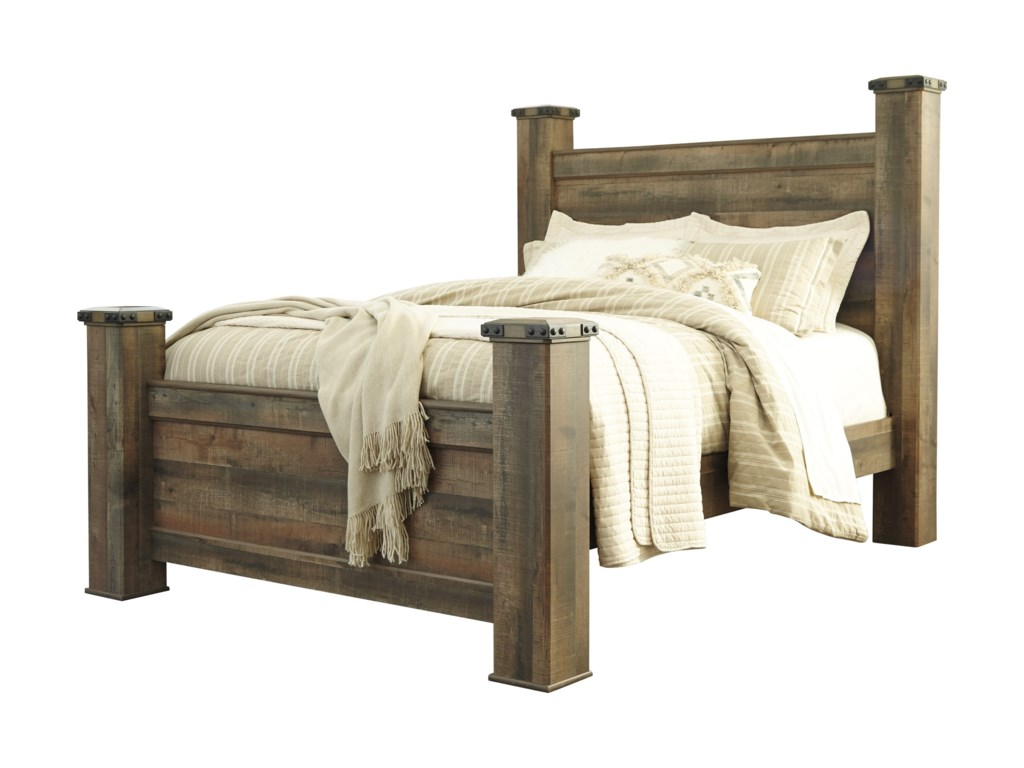 Signature Design by Ashley Trinell Rustic Look Queen Poster Bed ...