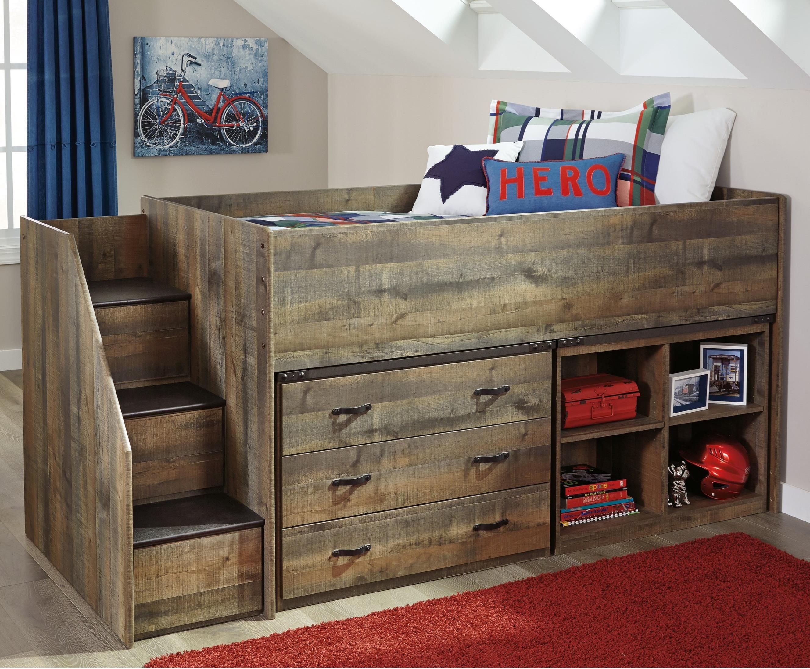 Signature Design By Ashley Trinell Loft Bed W/ Stairs, Bookcase, U0026 Drawer  Storage