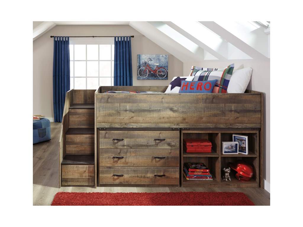 Signature Design by Ashley TrinellLoft Bed w/ Stairs, Bookcase, & Drawers