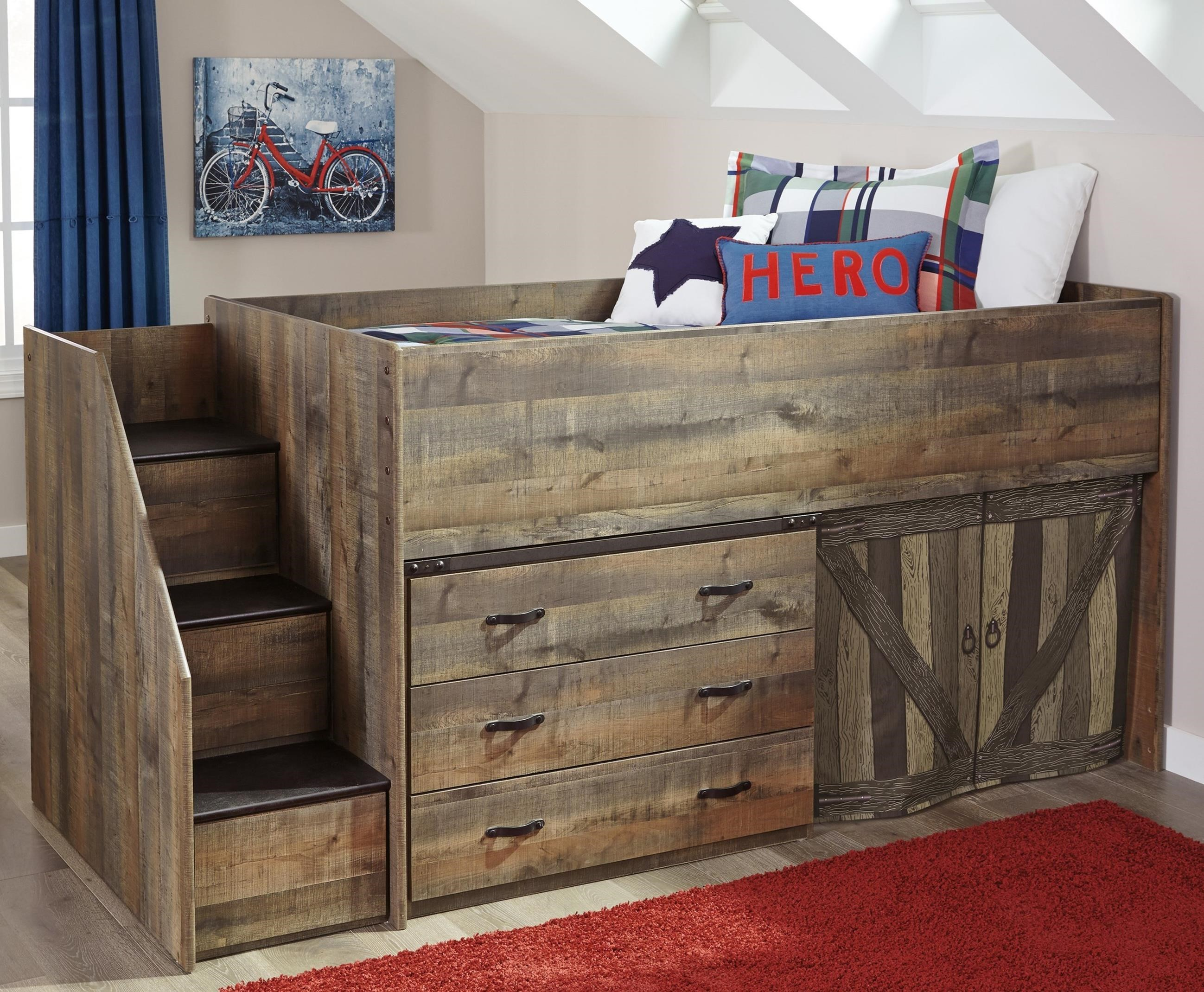 Signature Design By Ashley Trinell Loft Bed With Stairs And Drawer Storage Suburban Furniture