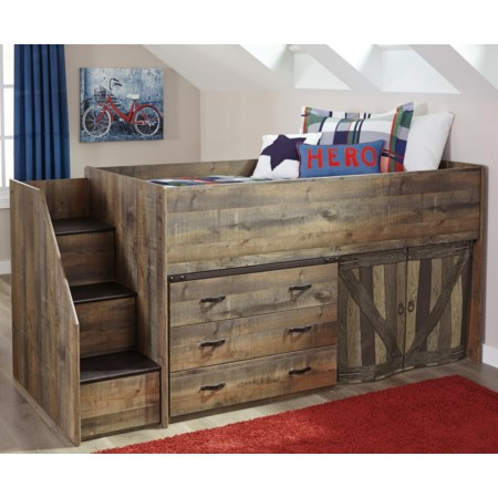 Loft Bed with Stairs and Drawer Storage