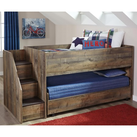 Loft Bed with Storage Stairs & Caster Bed