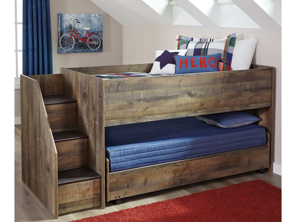 Signature Design by Ashley TrinellLoft Bed with Storage Stairs & Caster Bed
