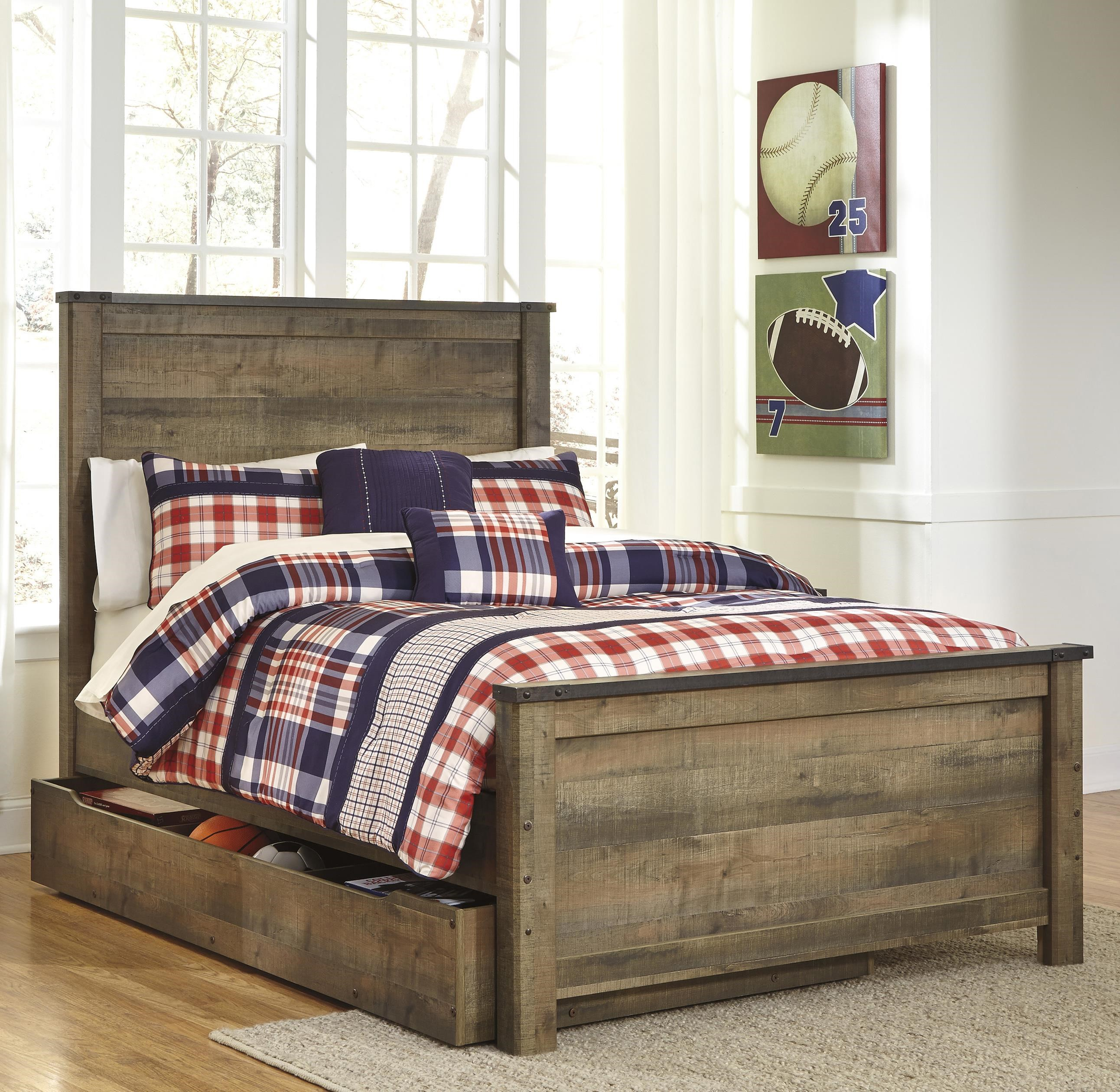 Signature Design By Ashley Trinell Rustic Look Full Panel Bed With Under Bed Storage Trundle Royal Furniture Panel Beds