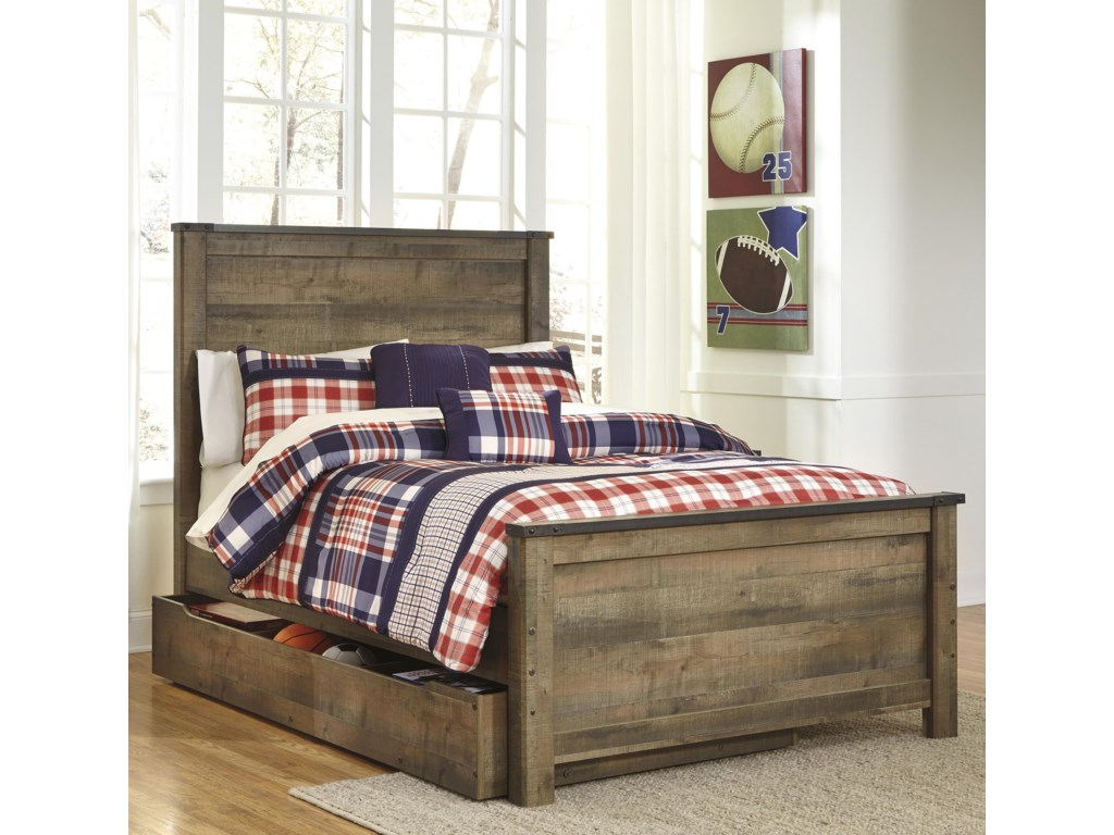 Signature Design by Ashley VickersFull Panel Bed w/ Under Bed Storage/Trundle