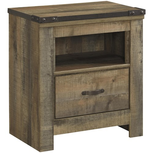 Signature Design by Ashley Trinell Rustic 1-Drawer Nightstand with USB Chargers