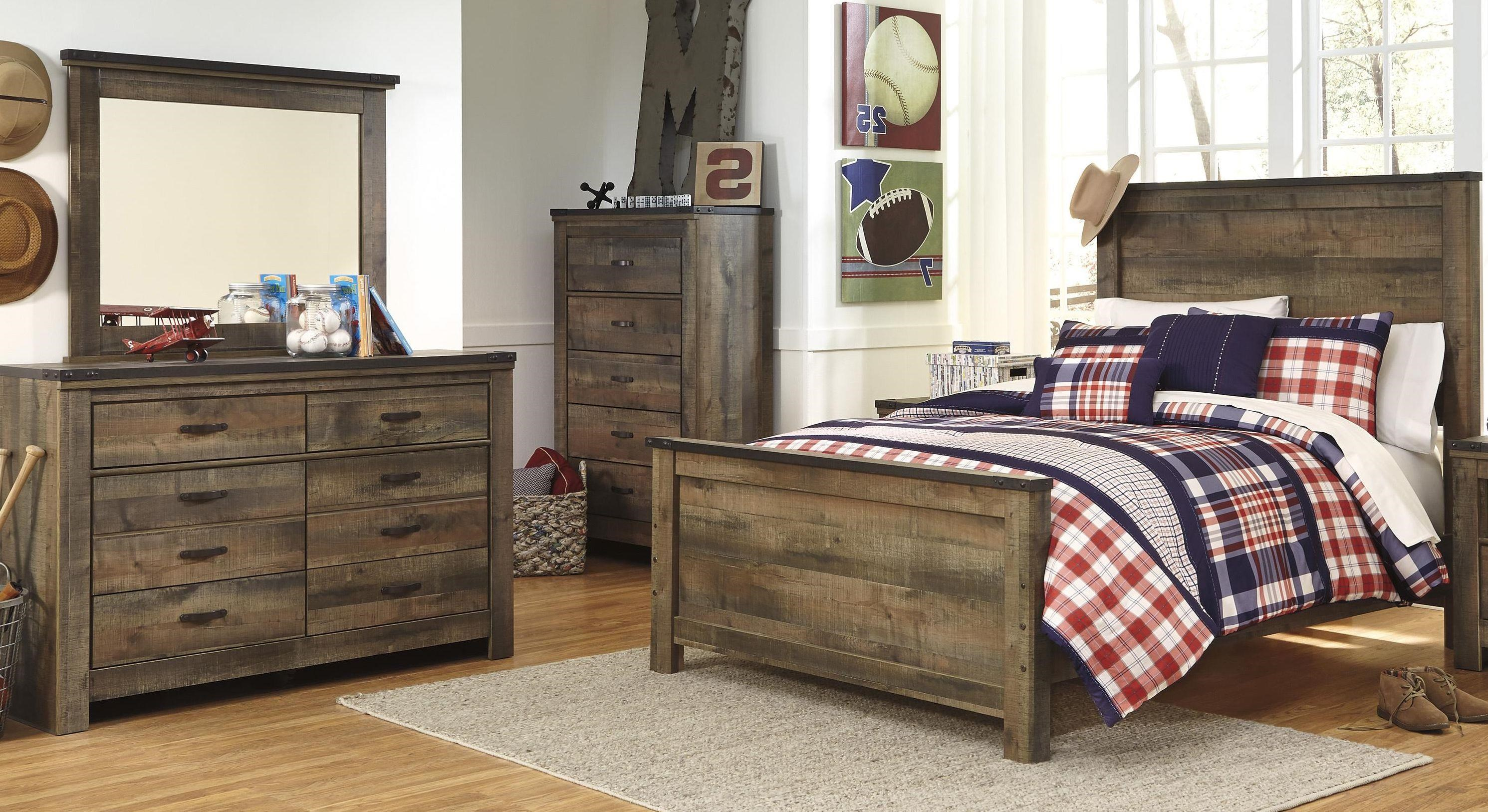 Signature Design By Ashley Trinell Full Bed, Dresser And Mirror