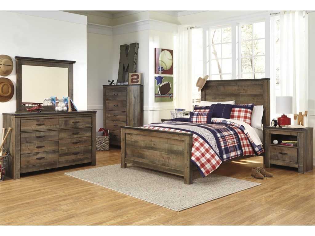 Signature Design by Ashley TrinellFull Bed, Dresser, Mirror and Nightstand
