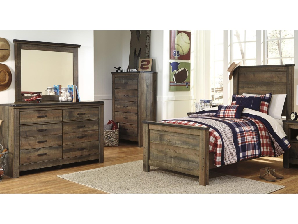 Signature Design by Ashley TrinellTwin Bed, Dresser and Mirror