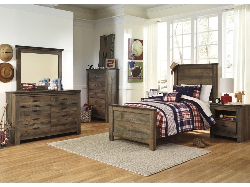 Signature Design by Ashley TrinellTwin Bed, Dresser, Mirror and Nightstand