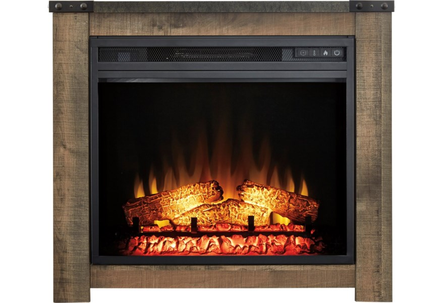 Ashley Signature Design Trinell W446 368 Rustic Fireplace Mantel With Fireplace Insert Dunk Bright Furniture Fireplaces