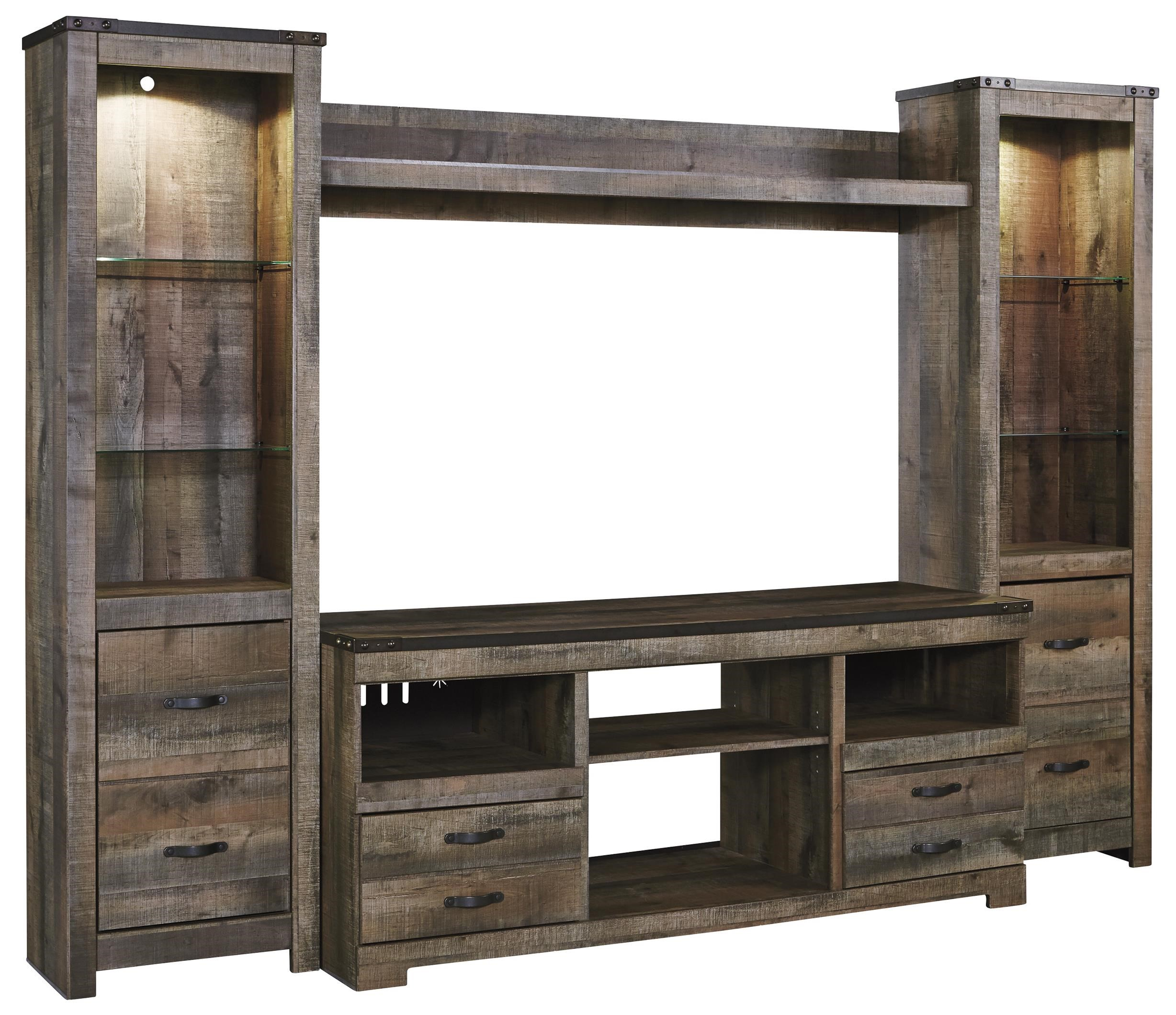 Signature Design By Ashley Trinell Rustic Large TV Stand U0026 2 Tall Piers W/  Bridge