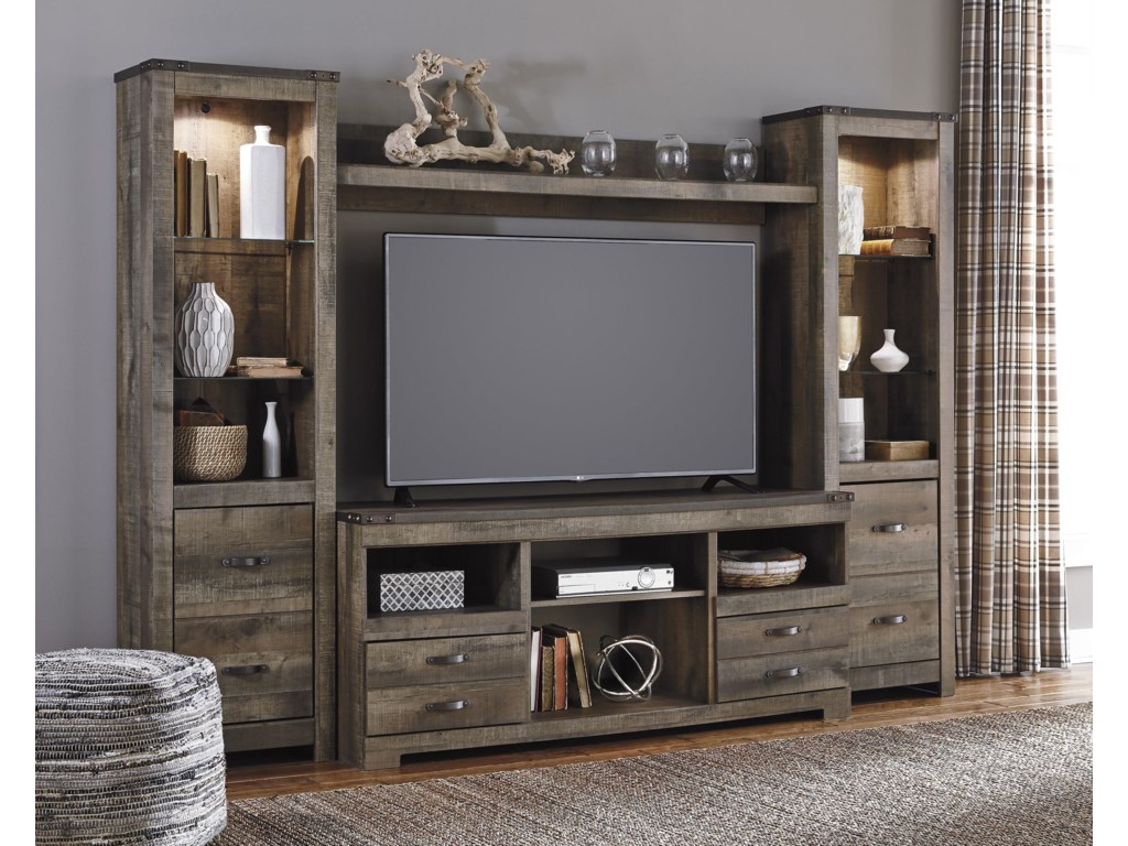 Signature Design By Ashley Trinell Rustic Large Tv Stand 2 Tall Piers W Bridge Royal Furniture Wall Unit
