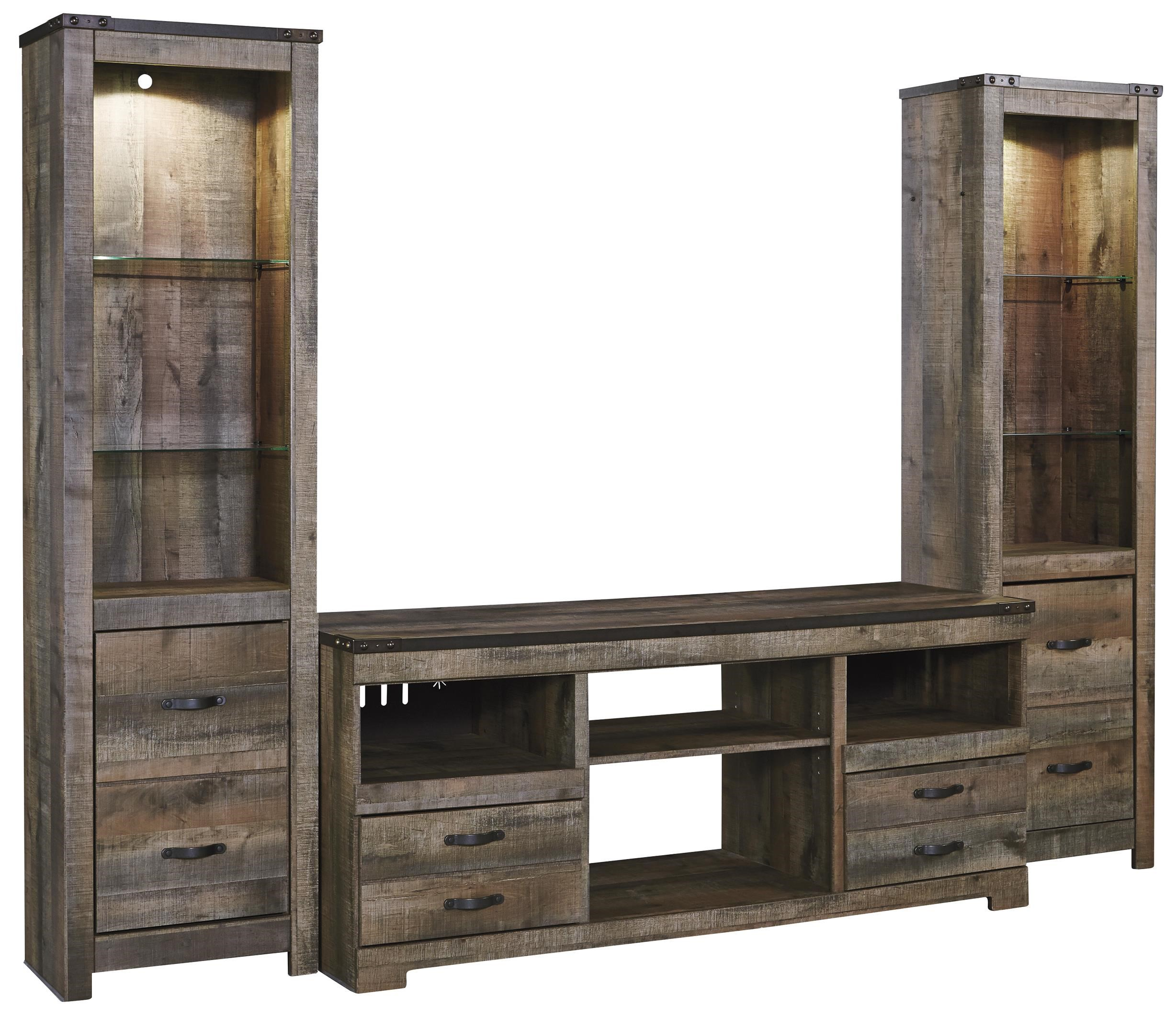 Signature Design By Ashley TrinellLarge TV Stand U0026 2 Tall Piers ...