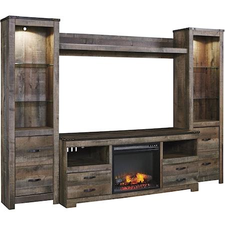 Large TV Stand w/ Fireplace, Piers, & Bridge